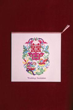 相悅喜鵲 | 紅線創藝囍事請帖專門店#Wedding Cards #Wedding Invitation #台灣喜帖 #台北喜帖 #喜帖樣式 #粉色系 #插畫 #剪紙藝術 #中國風 #Chinese style #Chinese invitation #pink