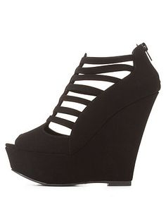 Qupid Strappy Caged Peep Toe Wedges: Charlotte Russe