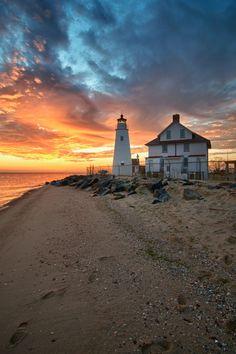 Cove Point #Lighthouse at #Sunrise (#Maryland) by Guy Stephens    http://dennisharper.lnf.com/