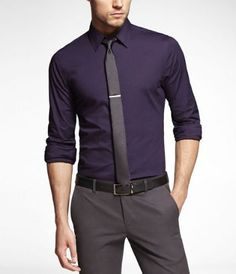 1MX FITTED STRETCH COTTON SHIRT at Express
