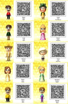 Tomodachi Life-Super Mario QR Codes by TheSingettesRBack on DeviantArt Wii Characters, Ds Xl, Life Code, Pokemon, Princess Toadstool, Nintendo 3ds Games, Some Games, Mario And Luigi, Animal Crossing Qr