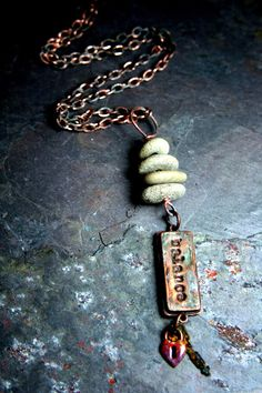 Your ONE WORD necklace - The Key to Balance  Created by Erin Prais-Hintz for the Wellness Words Jewelry Challenge with drilled Lake Michigan beach stones, enameled key hole, and a special Simple Truth pendant