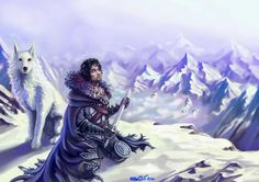 a song of ice by krio0ut, Jon Snow and Ghost