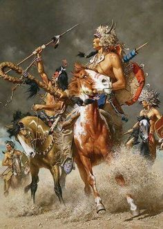 I love the action and detail in this Western painting.