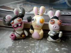 polymer clay handmade work  crazy rabbids -- proving that poly doesn't have to be serious.
