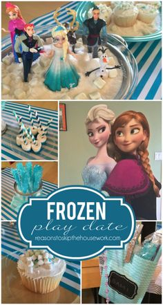 Frozen Play Date Party - Reasons To Skip The Housework #frozen #frozenparty Frozen Theme Party, Frozen Party Invitations, Frozen Birthday Party, Birthday Party Themes, 6th Birthday Parties, Third Birthday, Birthday Ideas, Fiesta Frozen, Frozen Movie