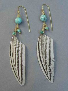 feather earrings feather jewelry black and white by AdrianaSoto, $26.00