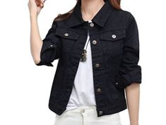 116301726b2 Comfy Women's Loose Fit Button Down Solid-Colored Jean Jacket Coat Black S