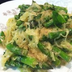 """Roasted Spaghetti Squash with Asparagus and Goat Cheese 