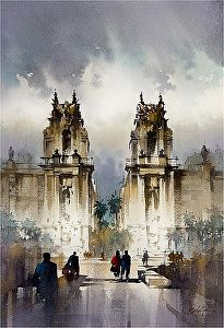 Porta Felice Palermo by Thomas Schaller Watercolor Painting Techniques, Watercolor Landscape Paintings, Watercolor Architecture, Art And Architecture, Watercolor City, Watercolor Pencils, Building Painting, Urban Sketching, Art Abstrait