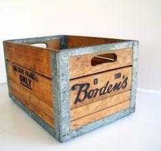 Vintage Industrial Borden Dairy Metal Wood Crate by BirdinHandVTG