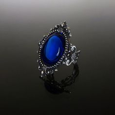 Victorian gothic Sapphire blue ring filigree silver steampunk wedding SINISTRA