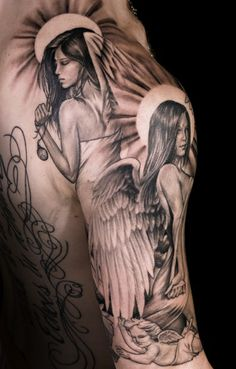60 Best Angel Tattoos Meanings Ideas and Designs for Maori Tribal Tattoo On Back And Shoulder. 60 Best Angel Tattoos Meanings Ideas And Designs For Angel Tattoo Meaning, Angel Sleeve Tattoo, Tattoos With Meaning, Angel Tattoo Men, Wild Tattoo, Get A Tattoo, Inkbox Tattoo, Sketch Tattoo, Unique Tattoos