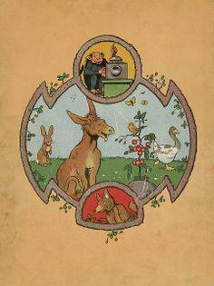 Beautiful illustrations! Fables de Florian illustrees par Benjamin Rabier, 1936 (back cover) by peacay, via Bibliodyssey/Flickr