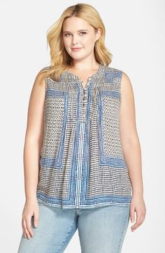 Lucky Brand Scarf Print Split Neck Tank (Plus Size) available at #Nordstrom