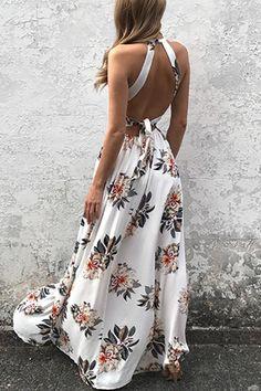 Halter Neck Open Back Random Floral Print Maxi Dress in Navy - US$25.95 -YOINS