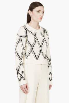 PROENZA SCHOULER Cream & Black Handwoven Cropped Sweater