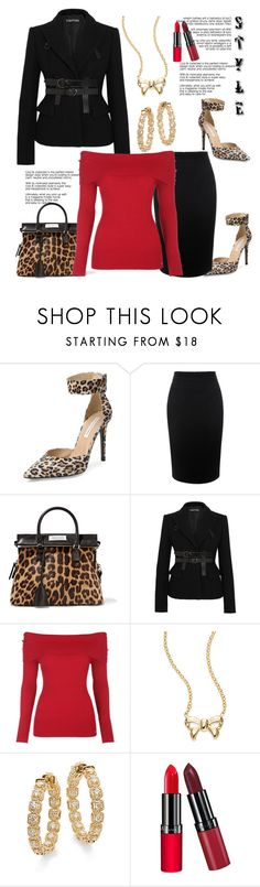 """STYLE: Red & Black with a pop of Leopard accessories, the Shoes & Handbag"" by helenaymangual ❤ liked on Polyvore featuring Diane Von Furstenberg, Alexander McQueen, Maison Margiela, Tom Ford, Saks Fifth Avenue and Rimmel"