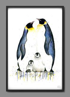 Pinguin Drawing, Pinguin Tattoo, Penguin Nursery, Penguin Art, Penguin Watercolor, Watercolor Animals, Family Drawing, Family Painting, Animal Paintings