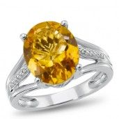 Sterling Silver, Citrine and Diamond Accent Ring