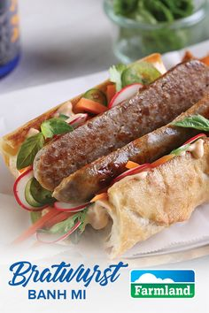 Farmland puts their own spin on the Banh Mi sandwich by adding a delicious smoked Bratwurst to the traditional recipe.