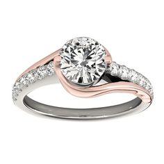 Transcendent Brilliance 14K White Gold 1 1/10ct TDW Diamond Curved Engagement Ring (VS1-VS2, F-G) (Rose/White - Size 8.25)