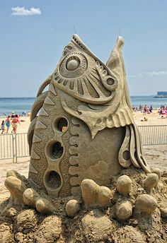 Fish sculpture at Revere Beach National Sand Sculpting Festival