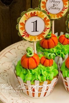 Little pumpkin patch cupcakes- could duplicate with pumpkin candy corns Pumpkin Patch Party Little Pumpkin Party  by CutiePuttiPaperie, $12.00