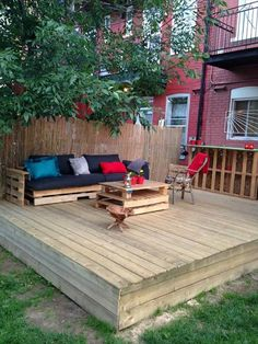 DIY Pallet Deck with Furniture                                                                                                                                                                                 More