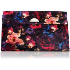 L.K. Bennett Miriam Floral Velvet Clutch ($92) ❤ liked on Polyvore featuring bags, handbags, clutches, pattern purse, floral print handbags, velvet clutches, print purse and print handbags