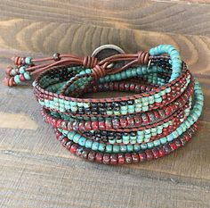 Beaded Wrap Bracelet For Women/ Seed Bead Leather Wrap Bead Loom Bracelets, Beaded Wrap Bracelets, Handmade Bracelets, Crochet Bracelet, Pandora Bracelets, Gypsy Jewelry, Gothic Jewelry, Vintage Jewellery, Jewelry Shop