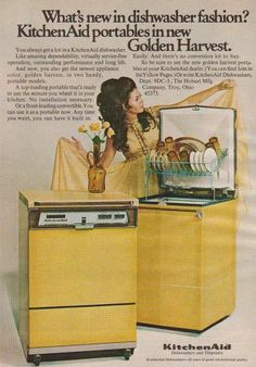 Omgsh we had this very one :)))  Golden Harvest ... Kitchen Aid was building a good reputation in the late 1960's - up into the 1990's. This Ad - 1969.