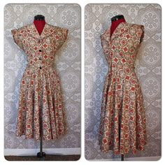 Vintage 1940s 50s Red and Brown Cotton Dress by Penny's Brentwood by pursuingandie, $74.50