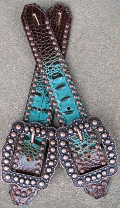 Haywire Brown/Turquoise Gator Spur Straps with Copper by Running Roan Tack