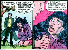 Dick and Helena discover their lives have been erased. From Crisis on Infinite Earths #11 (1986); art by George Pérez and Jerry Ordway.