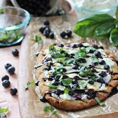 Blueberry basil ricotta flatbreads - under 30 minutes to a delicious dinner! This recipe looks super tasty! #blueberries