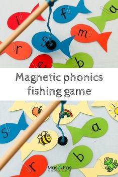 Learning phonics is so much fun with this magnetic fishing game. It's quick and easy to make and a great way of learning through play. Can your child fish for letters and then tell you what sounds the Jolly Phonics Activities, Preschool Phonics, Learning Phonics, Phonics Lessons, Preschool Learning Activities, Learning Letters, Alphabet Activities, Fun Learning, Learning Through Play