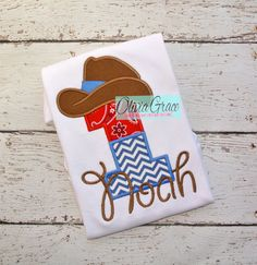 Cowboy Birthday Shirt by OliviaGraceCouture. Perfect for a Sheriff Callie birthday party! cowboy party, rodeo party, cowgirl party