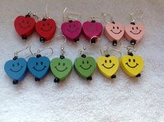 Excited to share the latest addition to my #etsy shop: Earrings, dangly earrings, nickel-free earrings, heart earrings, smiley face earrings, red earrings, blue earrings, green earrings, pink ear