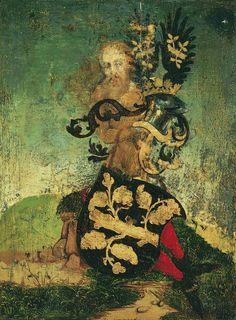 Personaje con escudo, de Wolfgang Beurer Oleo sobre tabla (37,3) X 27,5 cm) 1487