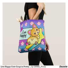 Shop Live Happy Cute Corgi in Pretty Rainbow Stars Tote Bag created by ONME_Prints. Shopping Bag Design, Shopping Bags, Rainbow Star, Cute Corgi, Live Happy, Reusable Tote Bags, Kawaii, Fancy, Stars