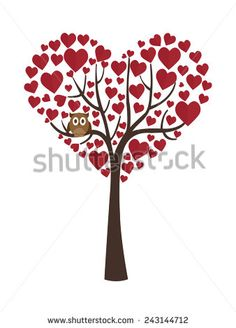 Tree in heart shape, for valentines day.