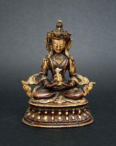 ANTIQUE SINO TIBETAN GILT BRONZE AMITAYUS CHINESE TIBET BUDDHA BUDDHIST Tibet, Antique Rare, Bronze, Buddhism, Chinese, Statue, Vintage, Antiques, Art