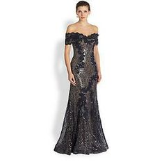 RENE RUIZ Sequin Lace Off-The-Shoulder Gown - Navy Champagne | Find.com  #prom #pageant #homecoming #gown