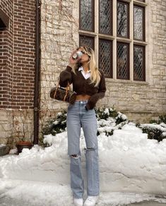 Crop Top Outfits, Fall Outfits, Cute Outfits, Winter Fashion Casual, Autumn Winter Fashion, Spring Fashion, Ootd Fashion, Fashion Outfits, Winter Fits