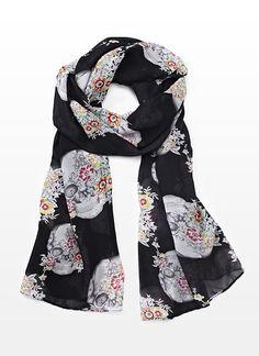 Lightweight Skull and Flower Scarf - Garage  #skulls #scarves #fashion #flowers