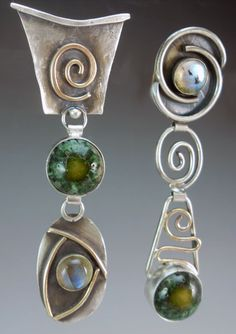 Sterling silver, pottery and labradorite with gold fill. Stone Earrings, Drop Earrings, Labradorite, Bali, Jewelry Necklaces, Stones, Pottery, Pendants, Sterling Silver