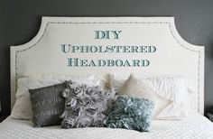 DIY Upholstered Headboard - step by step tutorial on how to make you own upholstered fabric headboard with nailhead trim - Diy Fabric Head Board Headboard Designs, Headboard Ideas, White Headboard, White Duvet, Diy Headboards, Upholstered Headboards, Bedroom Decor, Master Bedroom, Bedroom Ideas