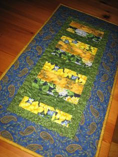 Quilted Table Runner Floral French Country Yellow by TahoeQuilts, $30.00