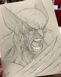 Marvel Drawing Wolverine Sketch by Vince Sunico at Montreal Comic Con Superhero Sketches, Drawing Superheroes, Drawing Cartoon Characters, Marvel Drawings, Comic Book Characters, Comic Books Art, Cartoon Drawings, Comic Art, Cool Drawings